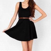 Flared Black Scoop Neck Dress with Belt