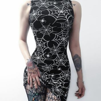 Women's new digital printing spider web sleeveless dress