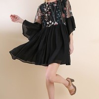 Embroidered Angel Sleeve Dress