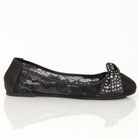 Lace Ballet Flat with Stone Covered Knot Bow