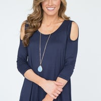 Starry Night Cold Shoulder Tunic - Navy