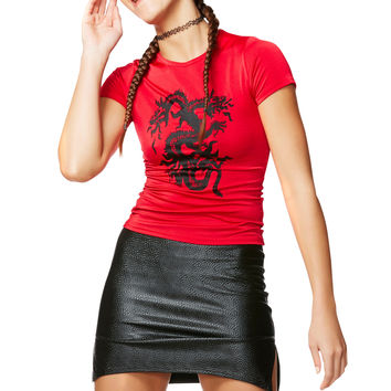 Lucky Dragon Red Spandex T Shirt