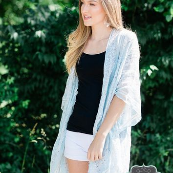 Blue and Ivory Striped Kimono
