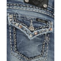 Miss Me Women's Light Stonewash with Pink & Clear Crystals Flap Pocket Boot Cut Jean