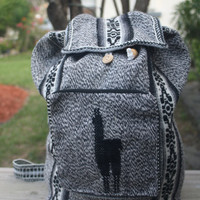 Peruvian Grey and black Tribal backpack