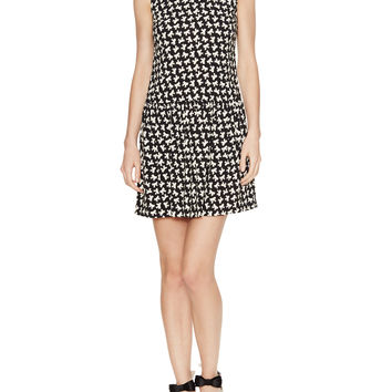 Printed Drop Waist Dress with Mesh Trim