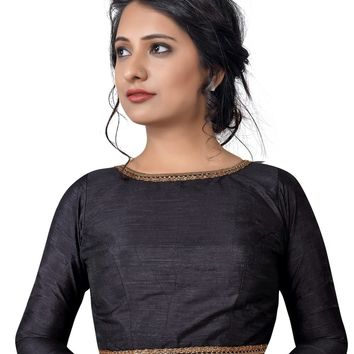 Black Raw Silk Long Sleeve Saree Blouse SNT-X-458-SL