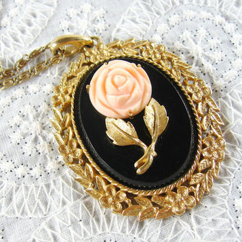 Vintage Pendant Necklace, Black Cameo, Pink Carved Rose, Flowers Leaves, Mirror, Gold Tone Spiral Chain, Designer AVON, 1970s Floral Jewelry