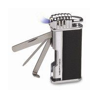 Vertigo Puffer Black & Polished Chrome Traditional Flame Pipe Lighter