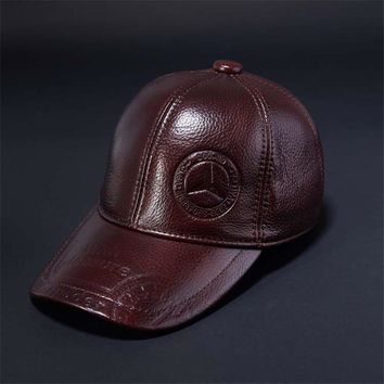 Trendy Winter Jacket 2017 Gift New Cowhide Leather Baseball Caps Middle age Mens Snapbacks Solid Color Ear Flap Patchwork Dad Cap for Men Hat AT_92_12