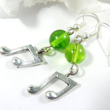 Green Music Note Earrings, Christmas Earrings, Music Earrings, Music Note Charm Earrings, Gift for Her, Music Teacher Gifts, Gifts under 15