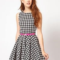 Club L Houndstooth Fit And Flare Dress at asos.com