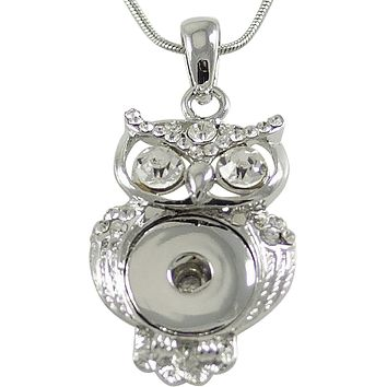 Snap Pendant Owl and Stainless Steel Necklace for Standard Size Snaps