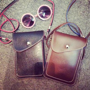 Vintage Retro Cell Phone Cross Body Leather Bag - 3 Colors Gift