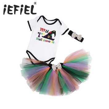 My First Halloween Baby Girl Clothes Toddler Girl Witch Hat Print Romper Newborn Tutu Set Pumpkin Outfit with Headband and Skirt