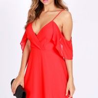 Flaring Cold Shoulder Dress Tomato Red