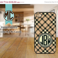 ON SALE iPhone 4 Case - iPhone case - Monogram iPhone case - iPhone 4s case - Plaid iPhone cover - MC067