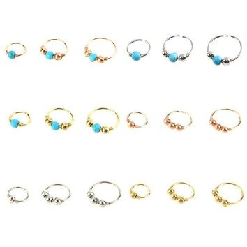 ac DCCKO2Q 3pcs/set Green Stone Hoop Helix Piercing Ear Cartilage Surgical Septum Clickers Nose Ring Tragus Daith Migraine Piercing