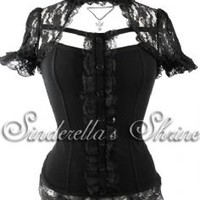 SALE Hell Bunny Nihilist Victorian Steampunk Lace Top
