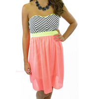 Bright Eyed Neon Pink Strapless Dress Striped Bodice