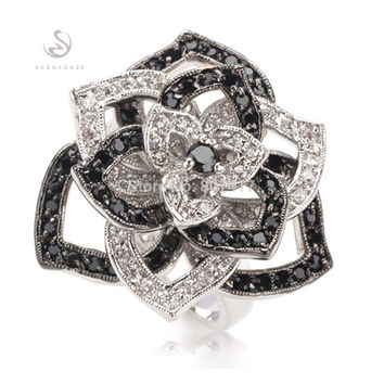 Romantic Fashion Black Cubic Zirconia and White Cubic Zirconia Silver Plated Promotion Favourite Ring R920 sz#6 7 8 9