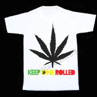 Keep one rolled T Shirt Wiz Khalifa Shirt Hipster Shirt Short Sleeves White Tee Women Shirt Unisex White T-Shirt White T Shirt Size S,M,L,XL