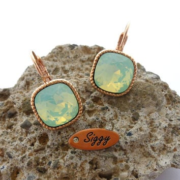Swarovski crystal cushion cut earrings, Chrysolite opal, 12mm mint green, rose gold plated, bridesmaids gift, Siggy Jewelry