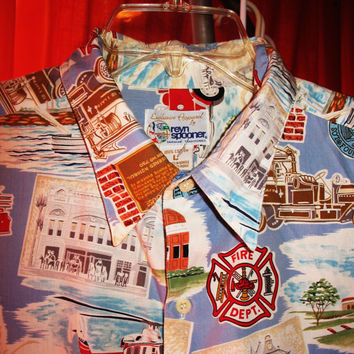 Amazing REYN SPOONER Vintage Hawaiian Shirt Fire Dept Blue Size L Cotton Made in USA