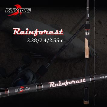 KUYING Rainforest 2.28m 2.4m 2.55m Japanese Carbon Spinning Casting Fishing Rod Lure Fish Pole Medium Fast Action Hard Soft