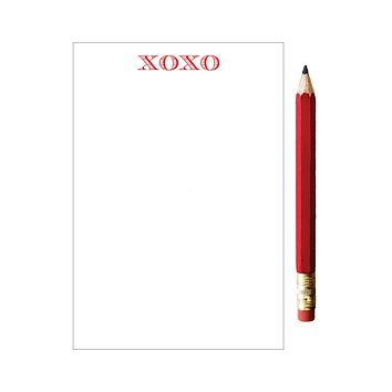 Mini XOXO Notepad with Red Pencil