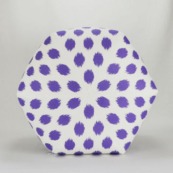 "22"" Wide By 16"" Tall Floor Ottoman Pouf Pillow Thistle Purple Grape & White Slub  - Jo Jo Ikat Contemporary Modern Print"