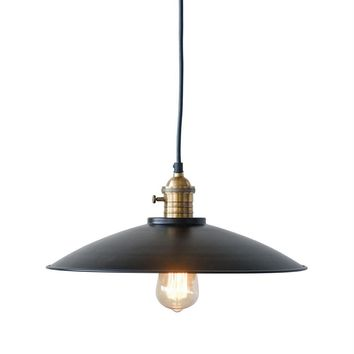 Metal and Brass High Hat Pendant Lamp -- 19-in