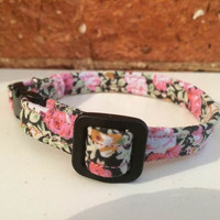 Floral Cat Collar Black & Pink - breakaway safety clip