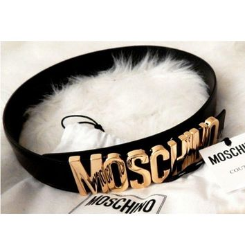 MOSCHINO Trending Stylish Women Men Personality Metal Letters Belt Wild Candy Color Belt(10-Color) Black I