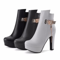 Women Ankle Boots High Heels Platform Shoes Buckle Motorcycle Booties Chic Punk