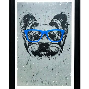 """Yorkshire Terrier with Blue Glasses Art Print / Poster - 13x19"""""""