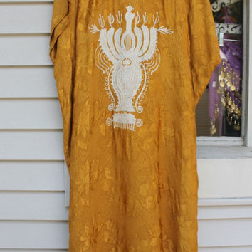 Tribal Dashiki Kaftan Dress, Mustard Yellow White, African Hippie