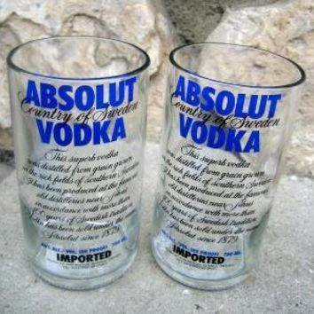 Two Recycled Absolut Glass Bottle Tumblers UPCYCLED by bottlehood