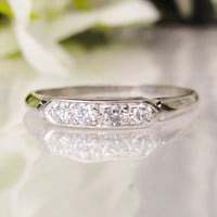 Platinum Diamond Wedding Band Antique Wedding Ring Ladies Wedding Band Diamond Wedding Ring Bridal Jewelry!