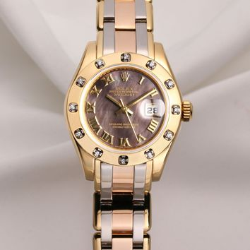 Rolex Lady DateJust Pearlmaster 80318 18K Tridor Mother of Pearl Dial