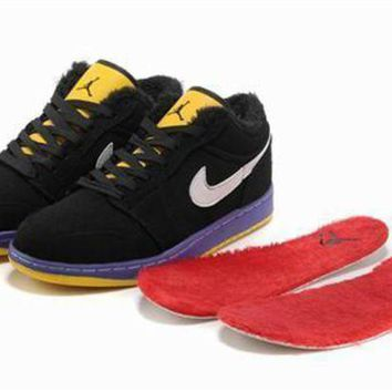 Cheap Air Jordan 1 Retro Low Shoes Fluff Black Yellow