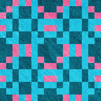 Teal Pink Pixel Pattern by likelikes