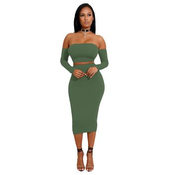 Sexy Women Two Pieces Set Off Shoulder Lace Up Back Long Sleeve Backless Crop Top Bodycon Pencil Skirt Set Women Clothes Sets