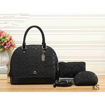 Coach Fashion Women Leather Handbag Shoulder Bag Crossbody Satchel Purse Wallet Set Three Piece Black I-KSPJ-BBDL