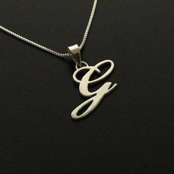 Sterling Silver Initial Necklace Customize letters personalized necklace pendant with sterling silver box chain