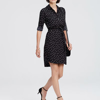 Dotted Crepe Shirtdress | Ann Taylor