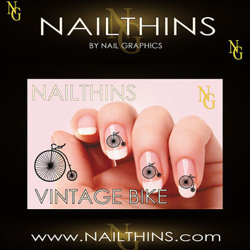 VINTAGE BIKE BICYCLE  Nail Art  Nail Decal  Nail Design  not water slide