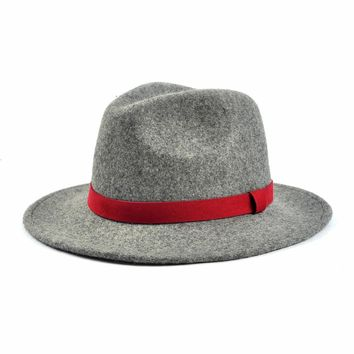 Miu&Go Women Wide Brim Charming Panama Fedora Hat with Belt Winter Fashion Decoration Soft Elegant Cap Solid Casual Hat 70002