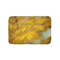 Yellow autumn maple leaves. Add you text or name. Bath Mat