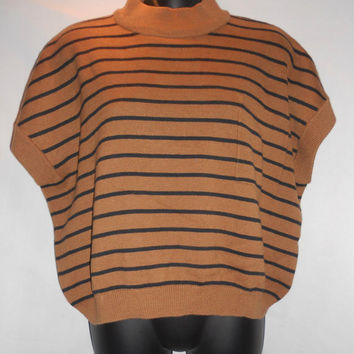Vintage Brown Stingray Sleeves Dolman Cut Brown Black Horizontal Stripe Sweater Shirt Blouse